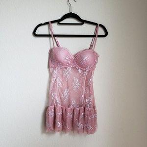 NWT Victoria secret metalic lace babydoll lingerie